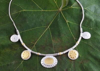 Collier/Kette Fuchsschwanz Silber mit beweglichen Anhängerteilen in Silber mit Feingold
