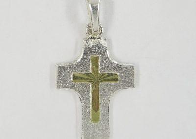 Kreuz-Anhänger Silber mit 585/- Gelbgold