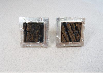 Goldschmiede Pia Hartmann_Manschettenknöpfe Obsidian, Silber