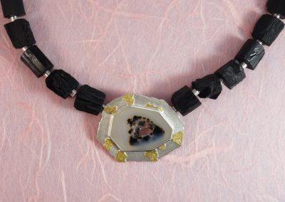 Wechselschließe für Steinkette, Perlkette aus Silber und 750/- Gelbgold mit Kristallquarz